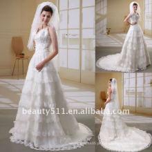 Astergarden organza cordete de renda calça sem mangas vestido de casamento Vestido de noiva vestido de noiva