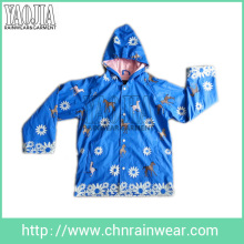 Yj-1101 Childrens Kids Blue PU Rain Jacket Parka Kids Rain Coats