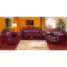 Sofá de couro de madeira para mobília da sala de visitas (929R)