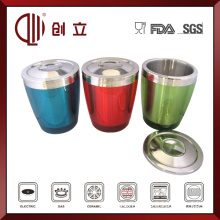 2.8L Double Wall Ss and Plastic Champagne Bucket with Lid