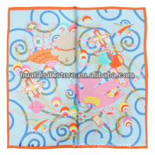 2014 New Hand Printed Small Silk Scarf Ladies Silk Scarf