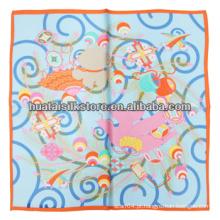 2014 Nova mão impressa lenço de seda pequena cachecol de seda das senhoras