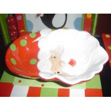 Regalo de la Navidad del plato de Santa de cerámica