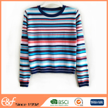 Women's Color Combination Knitted Sweater Pullover Jumpers
