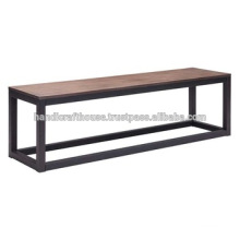 Industrial Narrow Metal and Wooden Bench