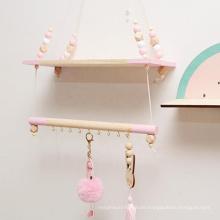Pink Multifunctional Storage Shelf Nordic Display Wall Hanging Shelf Swing Rope Floating Shelves