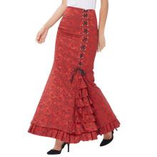 Belle Poque Mujeres Vintage Retro Estilo Victoriano Ruffled Jacquard Fishtail Sirena Long Maxi Falda Roja BP000204-2