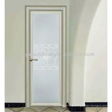 Porte de salle de bain en aluminium à balayage unique avec verre rustique