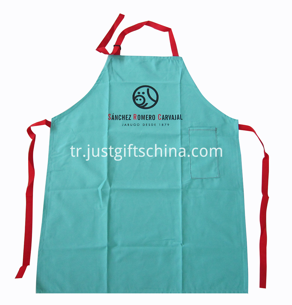 Promotional Imprinted Cotton Apron w Printed Logo Colored Strap