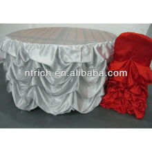 Special style table cloth, luminous satin ruffled table cloth, wedding table cloth