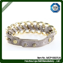 2015 High Quality Ladies Metal Real Braided Leather Bracelet