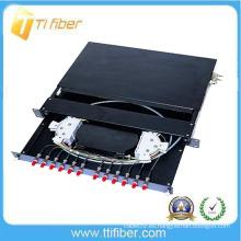 12 Caja de distribución óptica de 12 núcleos / panel de conexión Preinstalado con conectores FC