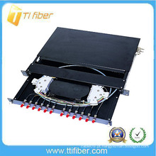 12 caixa de distribuição óptica de 12 núcleos / patch panel pré-carregado com FC Connectors