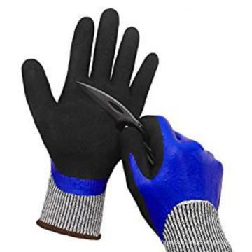 Дважды Макнул Санди Нитрила Non-выскальзования воды порезостойкие перчатки рабочие