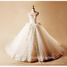 2017 embroidered lace hand made beads crystal tull big gown wedding gowns Long tail baridal wedding dress TS174