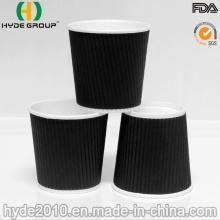 Copo de papel ondulado biodegradável do café da parede de 4 onças