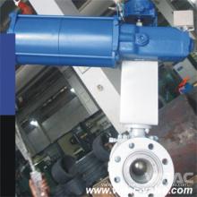 Válvula de bola de entrada superior con brida RF hecha a presión neumática