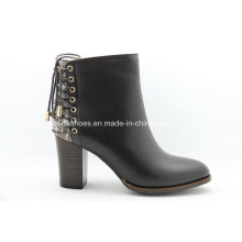 Classic Medium High Heel Women Leather Ankle Boots