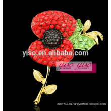 Красный цветок хрустальный женский цветок брошь