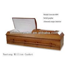 Solid poplar wood casket cremation