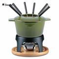 Chocolate Mini Cast iron enamel fondue pots with Prongs