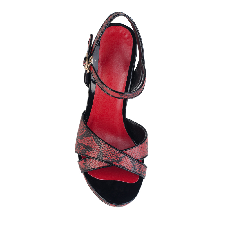 hot sale red PU high heel sandals