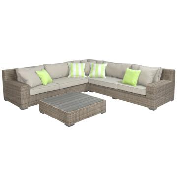 Jardín al aire libre de muebles de Rattan mimbre sofá salón conjunto