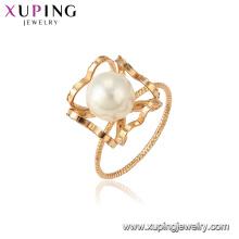15374 xuping mais recente projeto do ouro romântico branco pérola 18 k banhado a ouro mulheres jóias