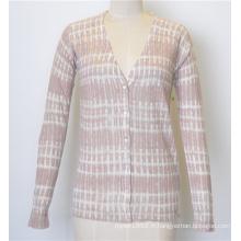 Manteau à encolure en V à manches courtes en mousseline de soie en tricot avec bouton