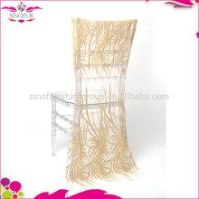 Vente en gros qingdao sinofur durable banquet restaurant chaise couvercle