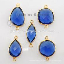18k Gold Vermeil Plated Natürliche Blue Sapphire Edelstein Lünette Einstellung Sterling Silber Lünette Connectors