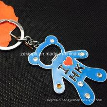 Custom Zinc Alloy Bear Shape Bottle Opener Keychain with Rhinestones
