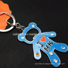Custom Zinc Alloy Bear Shape Bottle Opener Keychain with Rhinestones