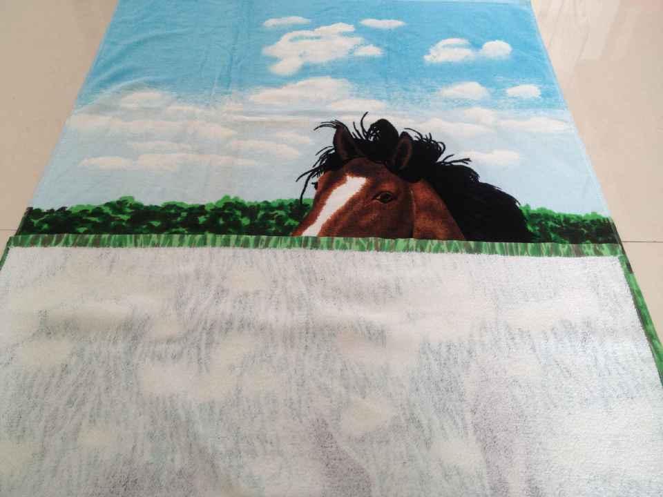 100% coton imprimé velours éponge serviette de plage