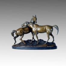 Sculpture sur le jardin en bronze animal Cheval Lovers Sculpture Statue en laiton Tpal-095