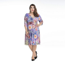 Bohemia style women floral print dress V neck half sleeve polyester plus size dresses