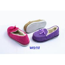 Women's Knitted Binding Winter Fleece Moccasin Shoes