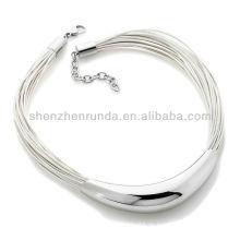 Großhandelsschmucksache-stolzes Stahl-multi-Strand echtes Leder-Halskette Vners