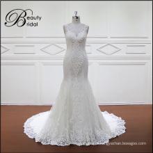 Vestido de casamento nupcial sem encosto de sereia de renda de alta qualidade