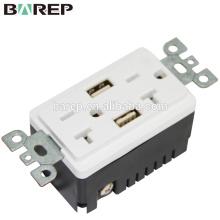 Placas duplas de alta velocidade da parede do receptáculo TR da tomada 20A do carregador de USB do melhor vendedor