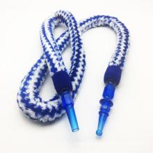 Mangueira de cachimbo de água de design de pele listrado azul 1.8m com bocal acrílico (ES-HH-006-4)