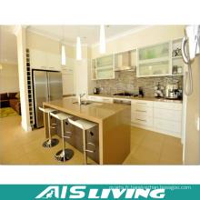 Laque blanche avec la conception artificielle d'armoires de cuisine de quartz (AIS-K363)