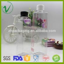 Garrafa de água potável PET de forma quadrada para embalagem de suco tampa à prova de falhas