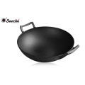 Amazon hot sale Cast iron Wok Flat bottom