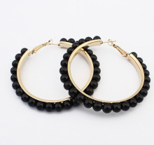 wholesale fashion temperament pearl beads inlaid gold plate metal alloy women hoop earrings 3 colors 58mm in diameter hot new
