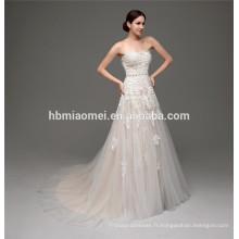 Nouvelle arrivée dentelle tissu personnalisé fait belle usine de robe de mariage de guangzhou