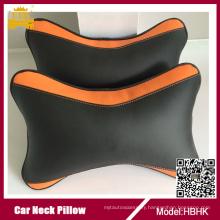 Super Fiber Leather Orange Neck Pillow with Logo