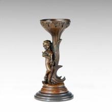 Candelabro Bronce Escultura Trigo Señora Decor Candelero Tpch-073/075