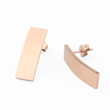 Personalized Engraving Stainless Steel Rose Gold Long Bar Stud Earrings