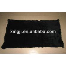 Sheared 1.5cm placa de piel de conejo europeo teñido de color negro 12skins o 9skins